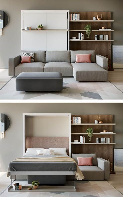 Add An Extra Room With A Modern Murphy Bed Sofa Chaise Sofa Bed Design Murphy Bed Sofa Space Saving Furniture Bedroom Murphy bed in living room