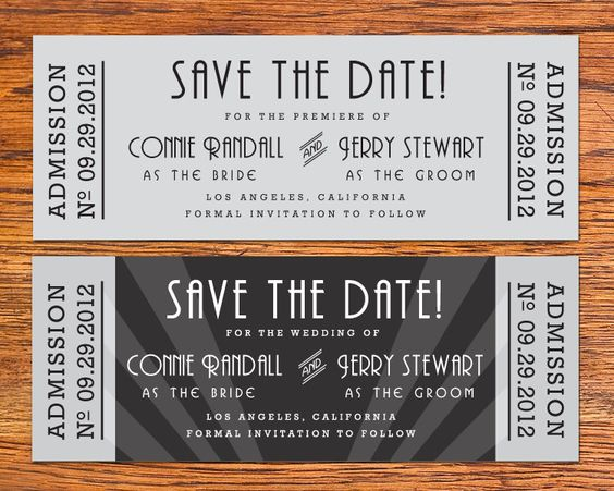Diy Old Hollywood Movie Ticket Save The Date Card  Via