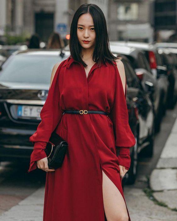 Krystal looks stunning in red at 'Milan Fashion Week'