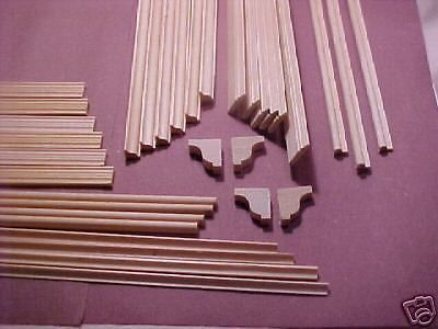Dollhouse-Trim-Kit-32pc-molding-4-rooms-Free-Shipping-basswood-1-12-scale