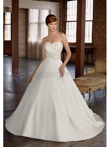 Ball Gown Silky Organza Beaded Sash Bodice Sweetheart Strapless Neckline Chapel Train Wedding Dresses