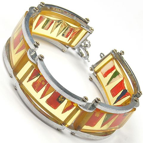 Deco Silver and Lucite Painted Marine Flags and Pennants Bracelet