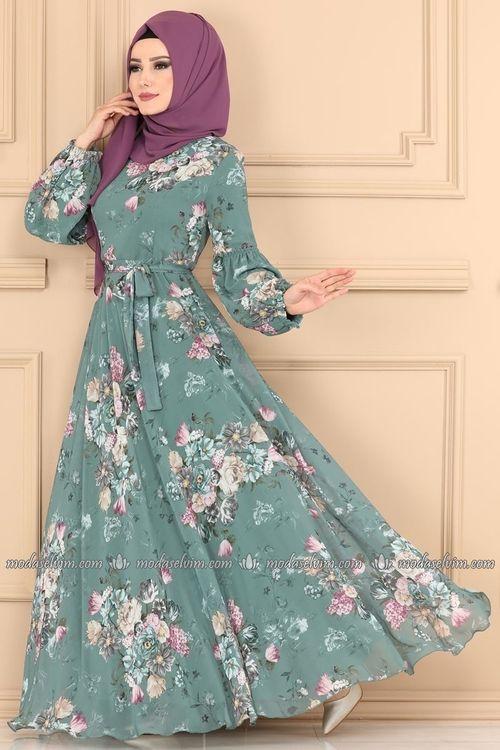Modaselvim Elbise Balon Kol Tesettur Elbise 2219ms212 Mint Musluman Modasi Sifon Elbise Elbise
