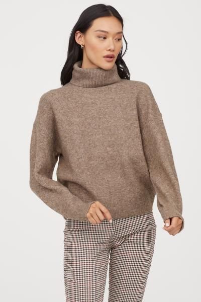 Knit Turtleneck Sweater - Taupe - Ladies   H&M US 2