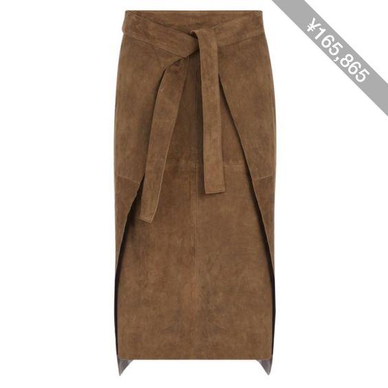 Joseph Suede Floyd Skirt in KHAKI