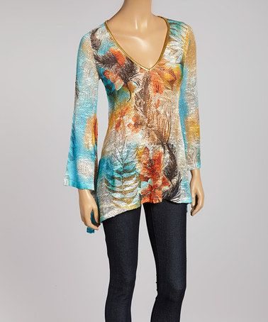 This Light Blue & Orange Jungle Sidetail Tunic by Boho Chic-LA is perfect, $40 !!  #zulilyfinds