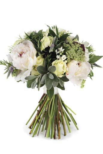 also nice idea with the herb addition...    Hand-tied bouquet of peonies, 'Avalanche' roses, bouvardia, ammi, flowering mint, chocolate cosmos, hard ruscus, senecio and rosemary (from 'Wedding flowers' magazine)