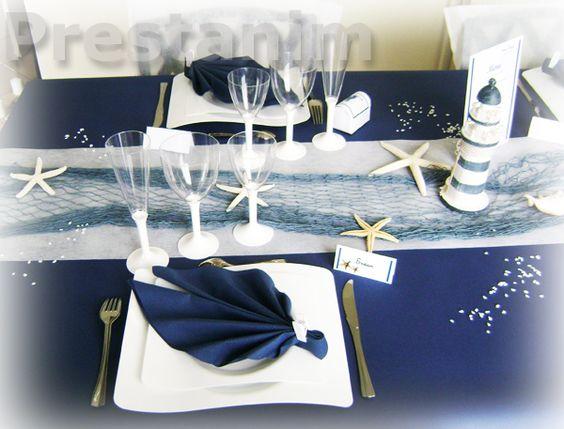 décoration marine et blanc chemin de table bleu buffet mer et filet ...