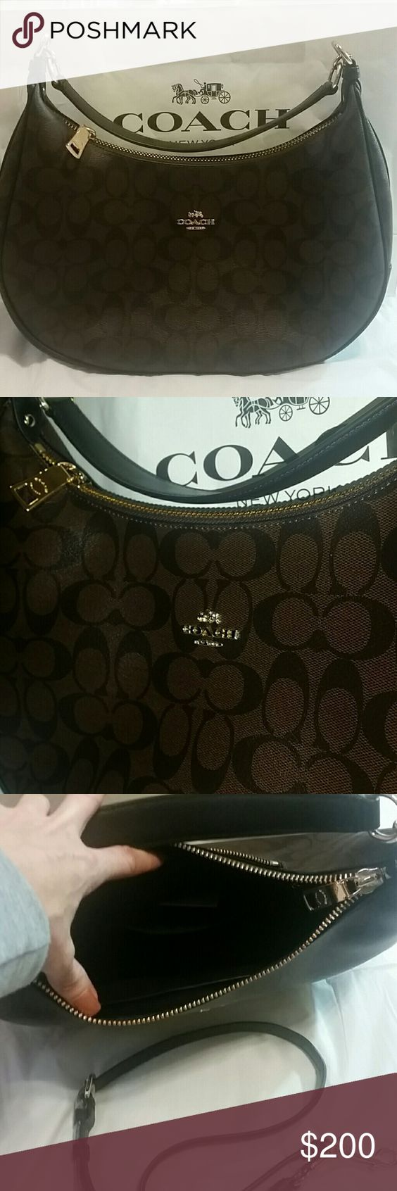 """Coach Signature Canvas Hobo Brn/Blk NWT Coach Signature Canvas Hobo Shoulder Bag. NWT  Detachable and adjustable strap, large zipper pocket, 2 inside pockets, outside zip pocket, gold hardware Depth: 5"""" Height: 12.5"""" Width: 12"""" Strap drop: 11.5"""" Coach Bags Hobos"""