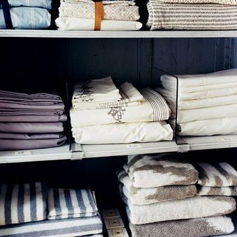 the linen closet: Fitted Sheets, Shelf Dividers, Organized Linen Closets, Clear Dividers, Linen Closet Organization, Organization Ideas, Laundry Room