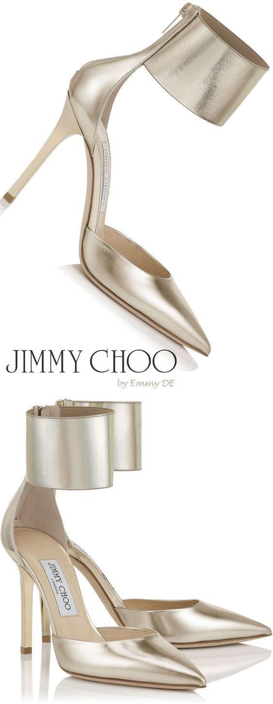 Emmy DE * Jimmy Choo Champagne Mirror Leather and Elastic Pointy Toe Stilettos