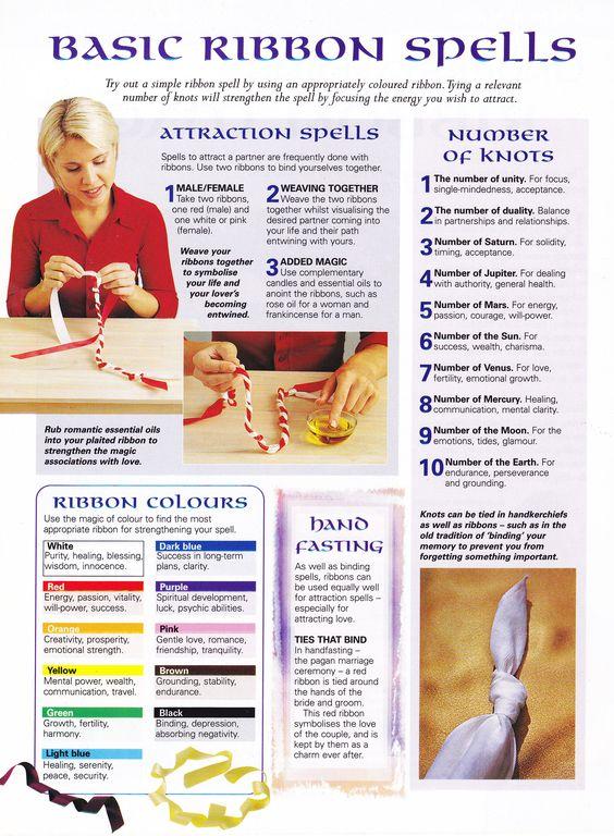 Magick Spells: Basic Ribbon #Spells. - use knots to seal spells.: