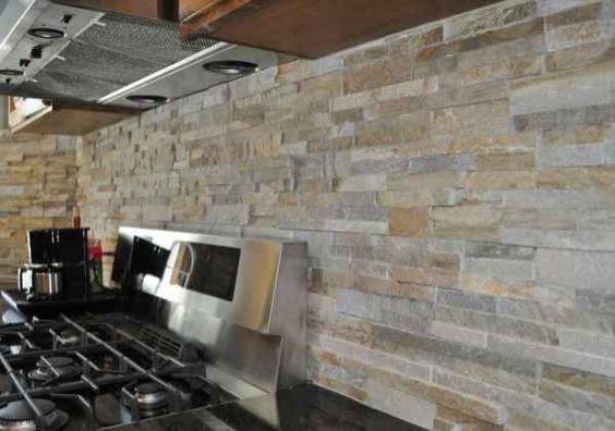 Modern stove and rustic modern on pinterest for Rustic stone tile backsplash