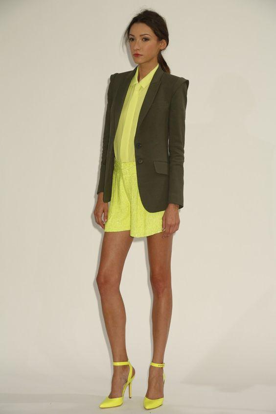 marissa webb rtw sp13. we obviously love a strong blazer + monochrome + neon yellow