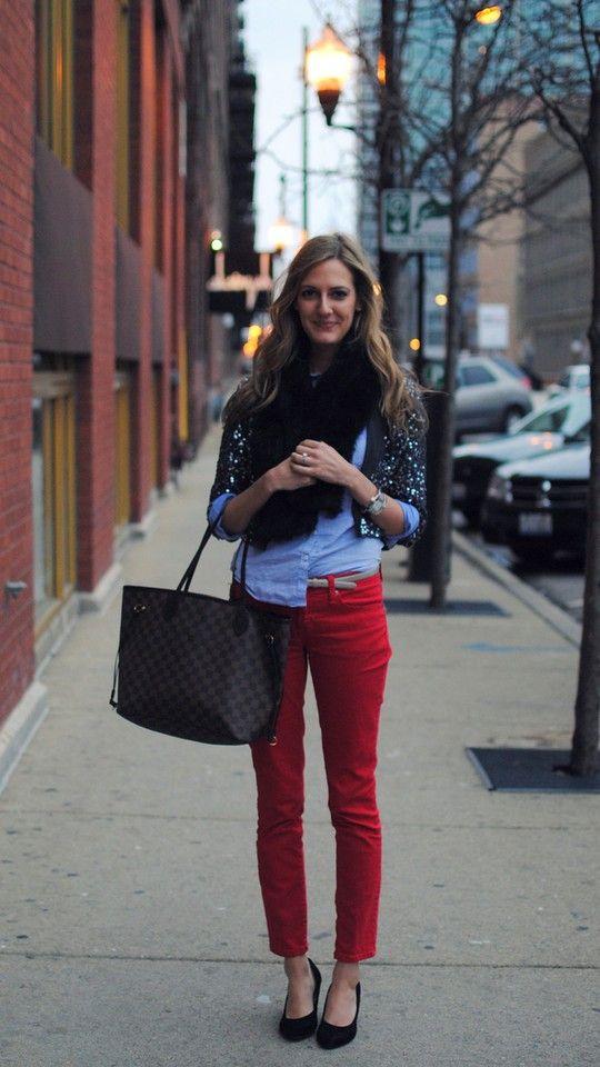 colored jean, denim shirt, sequins
