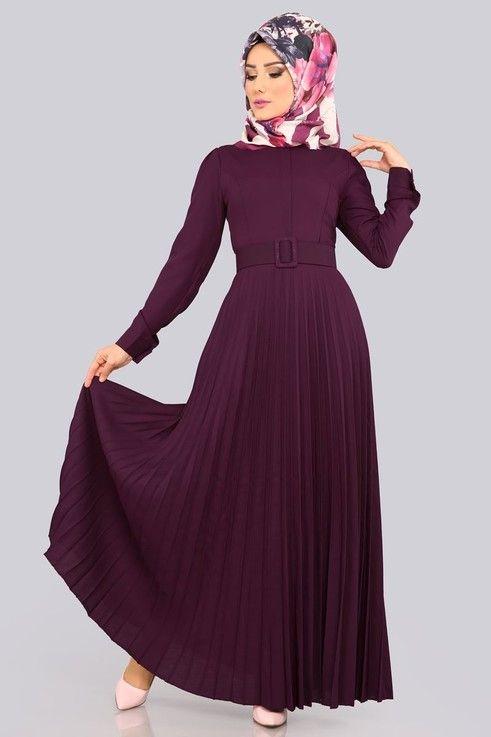 Modaselvim Elbise Pilise Etekli Elbise Lrj502 S Murdum Moda Stilleri Abaya Tarzi Moda Kadin