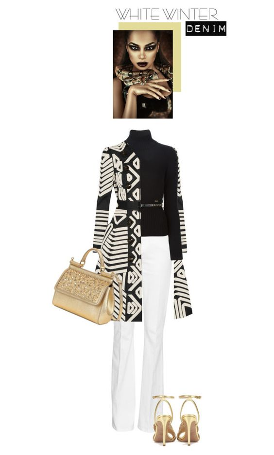 """""""Golden Girl"""" by saraishi ❤ liked on Polyvore featuring Burberry, Frame Denim, Dsquared2, Valentino, Dolce&Gabbana, women's clothing, women's fashion, women, female and woman"""