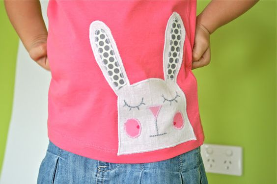 Sleepy Bunny Applique template ~  You could use it as a quick and easy Easter gift or maybe even applique it onto a little apron or Easter bag.  Or if you don't get around to using it for Easter, it's wearable all year 'round... adorable!