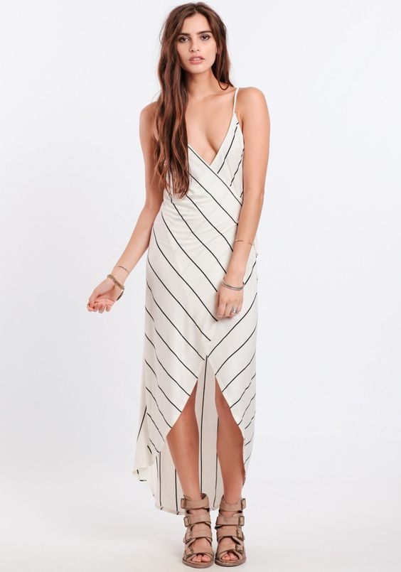 Wrapped Up In You Striped Maxi Dress