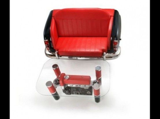 Exquisite Sofas And Coffee Tables With Car Parts this is so cool