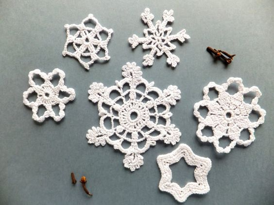 White Crocheted Snowflakes. Always beautiful.
