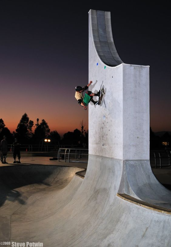 Caballero. Sunset frontside wall ride on the monolith at Lake Cunningham skatepark. photo by Potwin 2009: