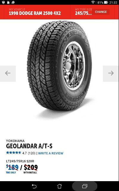 5. I chose these tires for traction and reliability reviews. They are pretty quiet. Also had new heavy duty shocks installed.