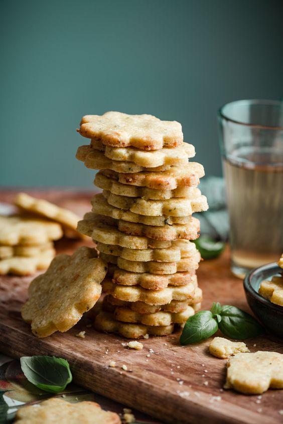 Shortbread Basil Apricot Cookies