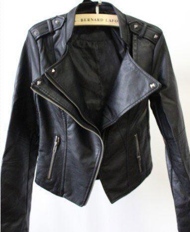 New Black Slim Leather Rivet Jacket