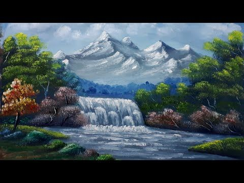 Landscape Painting Step By Step Youtube Landscape Paintings Waterfall Paintings Step By Step Painting