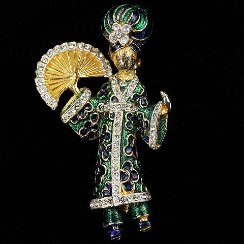 After Ciner (unsigned) Pave and Enamel Oriental Dancer with Fan Pin