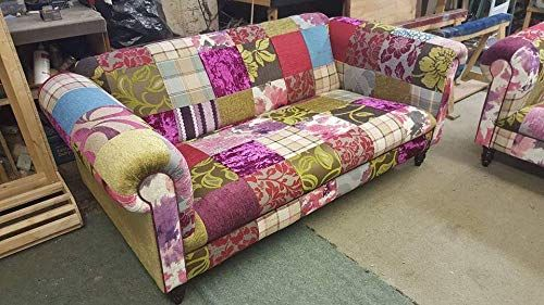 3 Seat Multi Coloured Patchwork Chesterfield Sofa Amazon Co Uk