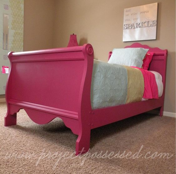 Fun second hand sleigh bed transformation. Would be super fun in a little girl's room. | Would also be great painted a seafoam or light blue + a high-sheen top coat. | LFF Designs | www.facebook.com/LFFdesigns