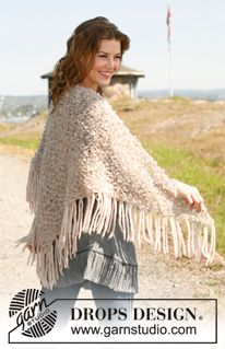 "Knitted DROPS shawl in ""Puddel"". ~ DROPS Design"