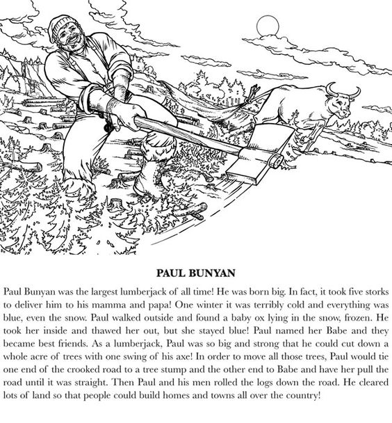 paul bunyan coloring pages kids - photo#24