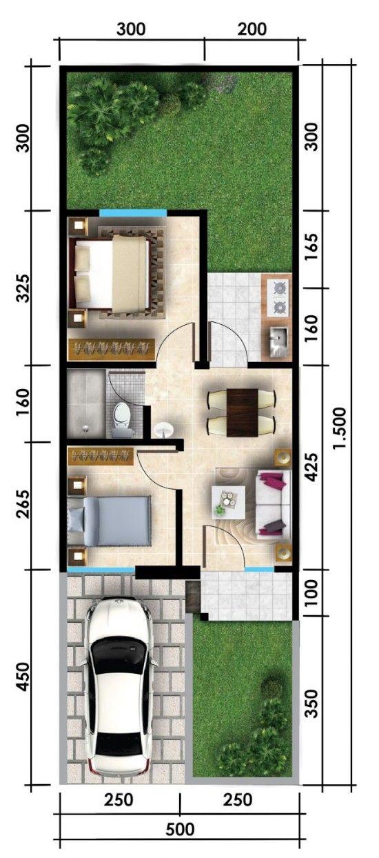 Desain Rumah Lebar 6 Meter Panjang 15 Meter : desain, rumah, lebar, meter, panjang, Denah, Rumah, Minimalis, Terbaru