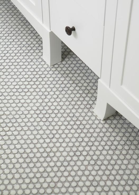 White Penny Tile Grey Grout Google Search Master Bath Pinterest And