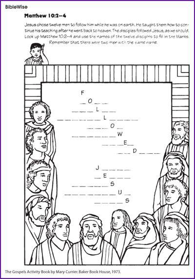 Biblewise Kids Korner Bible Jesus Amp His Disciples Apostles Pinterest Jesus Printables