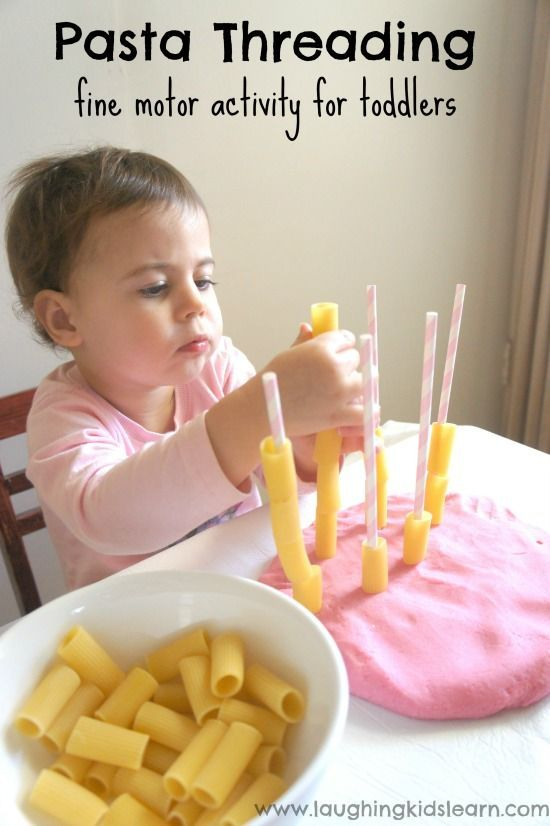 Simple pasta threading activity for toddlers to do using play dough and straws. Great for fine motor development and hand/eye coordination. Lots of fun too.
