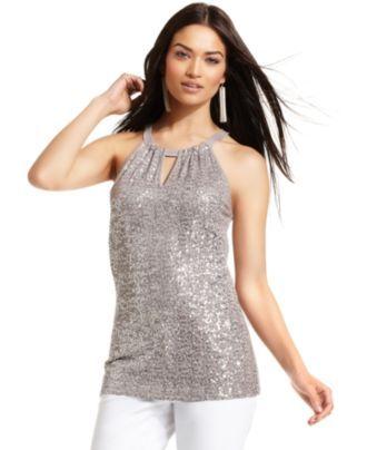 INC International Concepts Top, Sleeveless Halter Sequin - Womens - Macy's