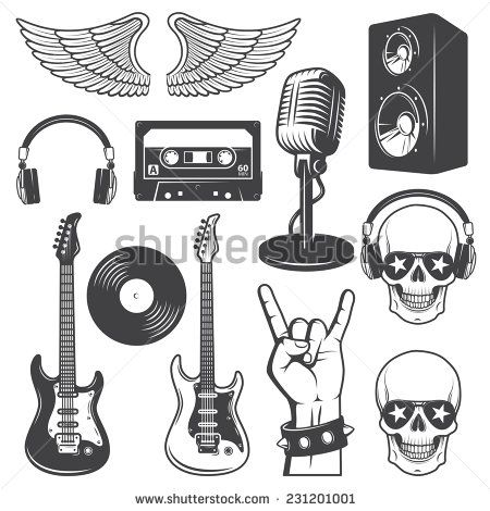 Set of rock and roll music elements. Monochrome