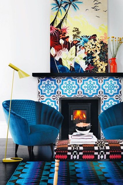 Living Room with Fireplace Tiles – Print Pattern Decor Inspiration (houseandgarden.co.uk)