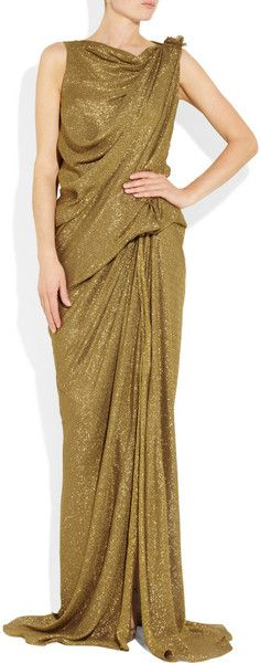 Lanvin Draped Lamé Gown in Gold