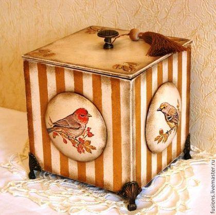 """Короб """"Птички"""" - бежевый,медный,золотой,горчичный,коричневый,оранжевый"""