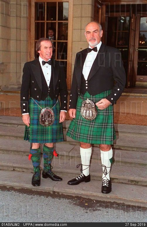 1993 Sean Connery Former Motor Racing Driver Jackie Stewart In Full Highland Dress Celebrity Golf Tournament Scotland