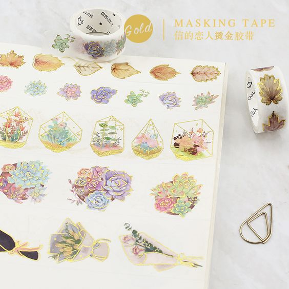 Cheap washi tape, Buy Quality masking tape directly from China decorative stickers tape Suppliers: 10 Styles Gold Foil Gild Washi Tape Hot Stamping Flower Bonsai House DIY Bullet Jornal Stickers Decorative Sticker Masking Tapes