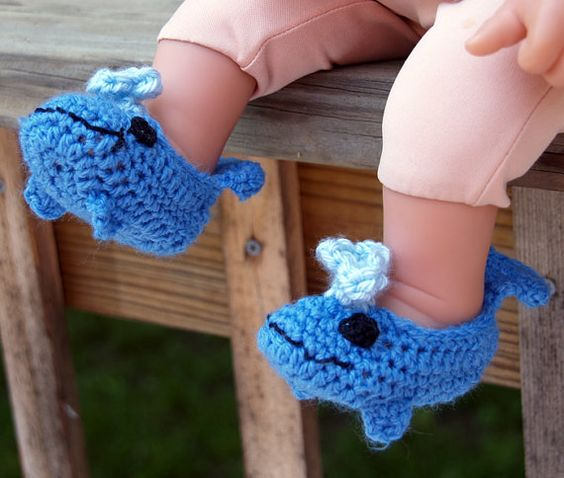 crocheted blue whale booties for newborn baby: