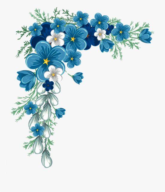 15 Flower Border Png Blue Flower Border Png Flower Border Flower Drawing