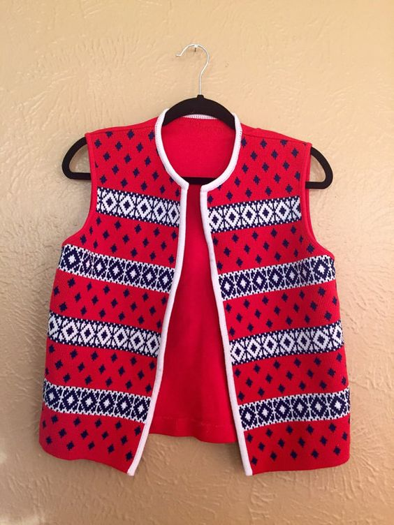 1960s Vest- 1970s Red, White & Blue Christmas Vest - medium / large kitschy ugly sweater