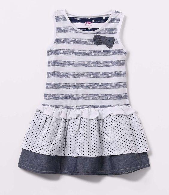 Vestido Infantil Listrado com Babados - Tam 1 a 4 anos - Lojas Renner